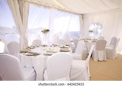 White wedding venue in a tent