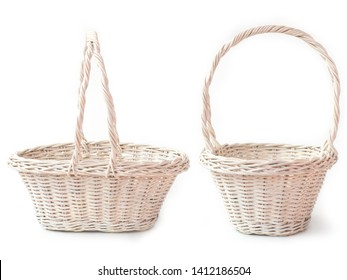 White wicker baskets isolated on white background.Used for storing items and reduce the waste of plastic bags.