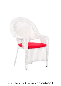 White wicker rattan chair, isolated on a white background.