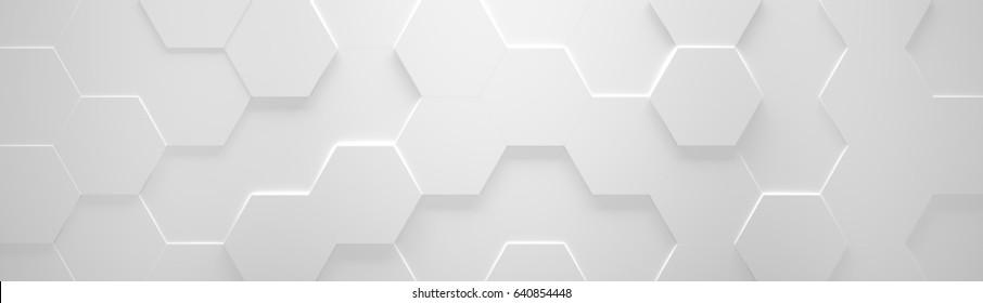 White Wide Hexagon Background (Site head) (3d illustration)