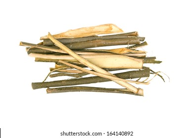 White willow bark medical herb isolated on white background, used in herbal medicine. Salix alba