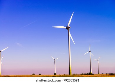 White wind power plants in a field at summer sunset light