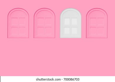 White window between pink windows on pastel pink wall for copy space. Difference minimal concept.