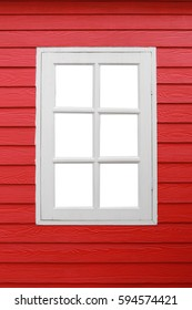 White window looking on red wood wall in home decoration for the design background.