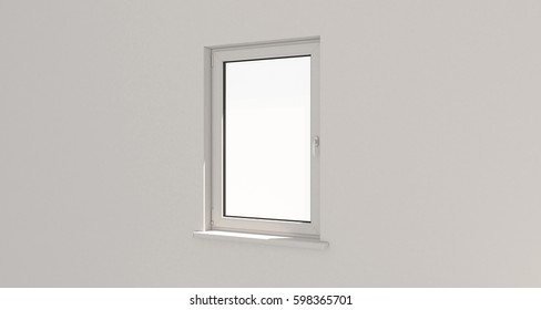 White window. White wall. 3d. 3D render.