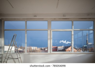 White windows with dark blue sky at the studio