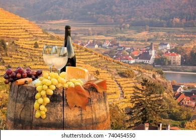 White wine with barrel on famous vineyard in Wachau, Spitz, Austria