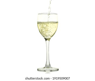 White wine being poured into glass on white background