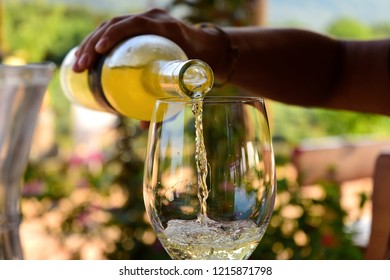 White Wine Being Poured at a Vineyard Tasting - Stari Grad, Croatia