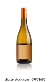 White wine bottle against a white background