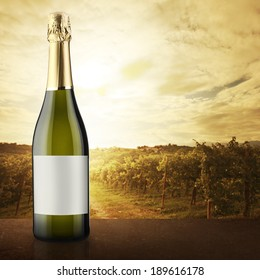 White wine bottle close up with lush natural landscape on background with vineyard.