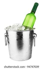 White wine bottle in cold ice bucket. Isolated on white