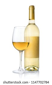 White wine bottle with empty label and glass for tasting isolated on white background