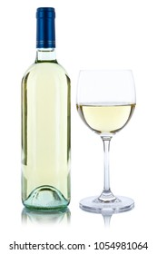 White wine bottle glass alcohol isolated on a white background