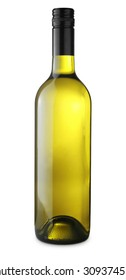 White wine bottle isolated on white with clipping path
