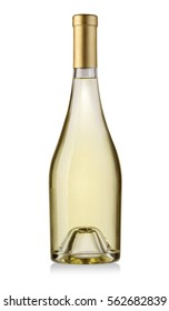 white wine bottle isolated on white background, , clipping path