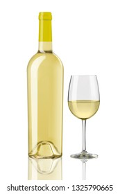 white wine bottles and glass on white background