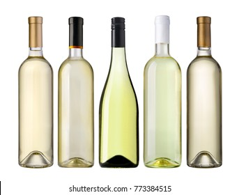 white wine bottles isolated on white background