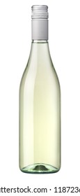 White wine with a clear glass bottle