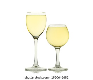 White wine in glass isolated on white background