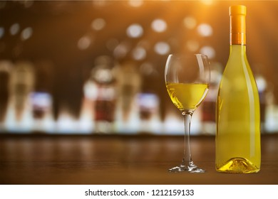White wine glass  on  background