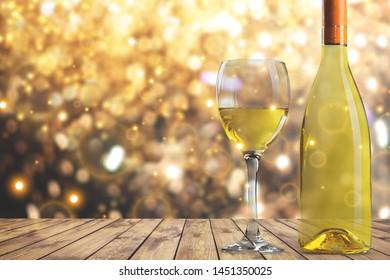 White wine glass  on  background
