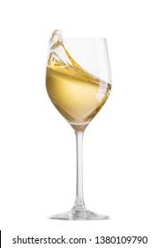 White wine in glass splashing half full isolated on white background