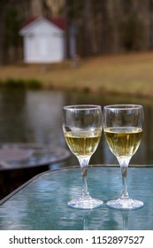 White wine glasses on a table outside. Conceptual image for celebration, autumn, harvest, or various occasion.