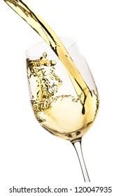 white wine splash isolated on white
