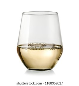 White wine in a stemless glass