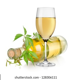 White wine and vine isolated on a white background