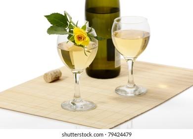 White Wine and Yellow Rose