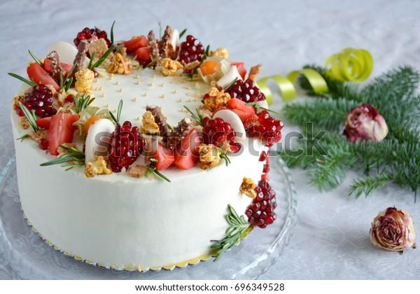 Marvelous White Winter Birthday Cake Stock Photo Edit Now 696349528 Funny Birthday Cards Online Eattedamsfinfo