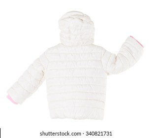 White winter jacket. Back side. Isolated on a white background.