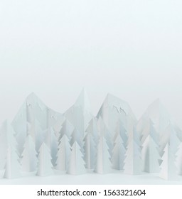 White winter paper landscape with mountains and pine trees