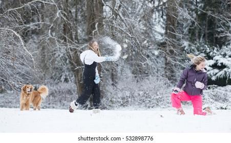 white winter snowball fight