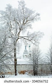 White winter tree and church in Uglich