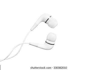 White wired earphones on white background