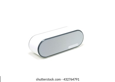 White wireless bluetooth speaker for listening to music isolated on a white background