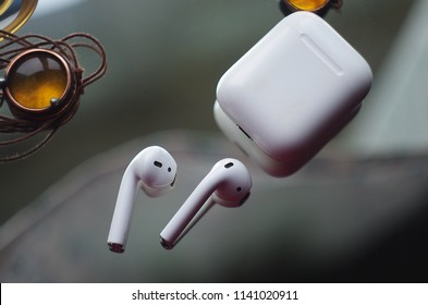 white Wireless headphones with microphone
