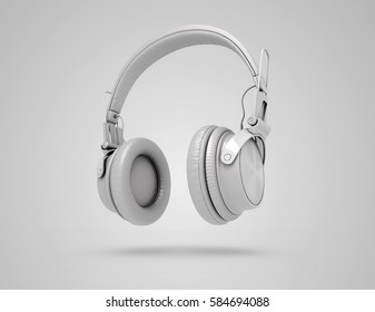 White wireless headphones on grey background with shadow. Musical background with audio white headphones. 3d Illustration