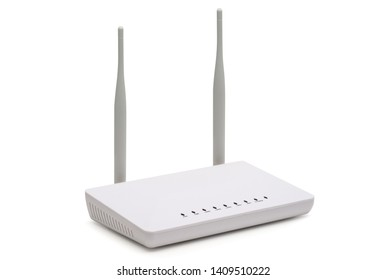 White wireless internet router isolated on white background
