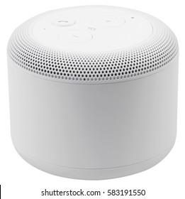 White wireless portable bluetooth speaker, isolated on white background.