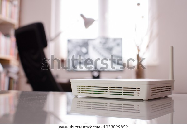 White Wireless Router Small Office On Stock Photo Edit Now 1033099852