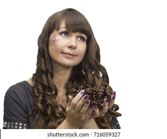 white woman hold heap pine cone isolated background