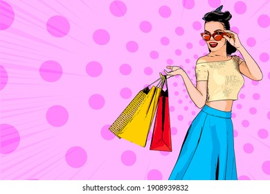 White woman pop art. Caucasian girl hold shopping bag. Comic book cartoon female character. Wow smiling face vector illustration. Vintage halftone background. Happy summer sale, spring, autumn sale.