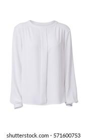 White women's blouse isolated on white background
