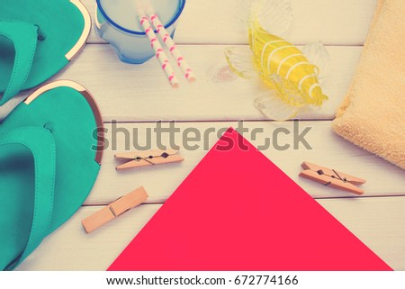 2f00c08f7 White Wood Background Yellow Towel Green Stock Photo (Edit Now ...