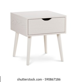 White wood bedside table. Modern designer, nightstand isolated on white background. Series of furniture
