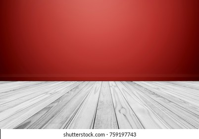 White wood floor with Red wall, empty room for background